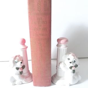 Vintage Bashful Pink/White Puppy Pillars